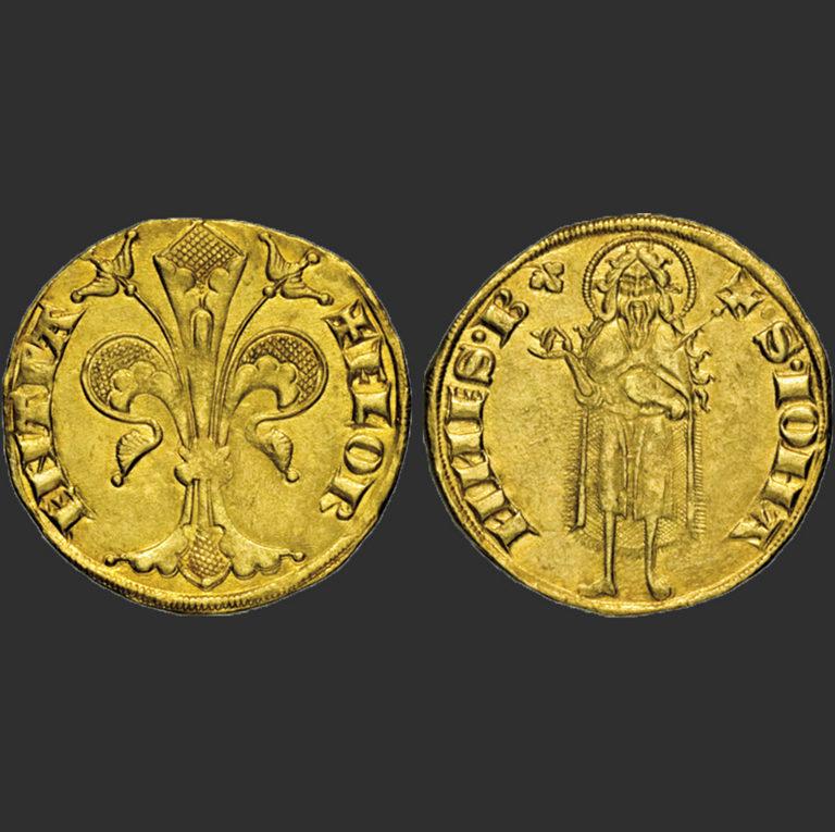 Золотой флорин с изображением геральдической лилии и Иоанна Крестителя. 1347