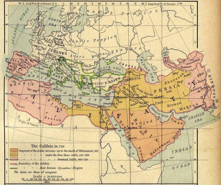 Арабский халифат в 750 г.