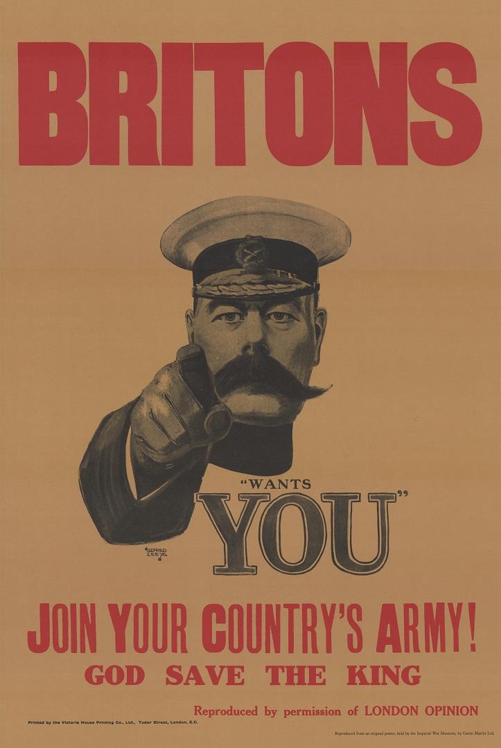 Британский плакат с изображением лорда Китченера. 1914