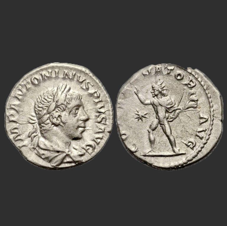 Денарий с изображением Гелиогабала. 218–222 гг.