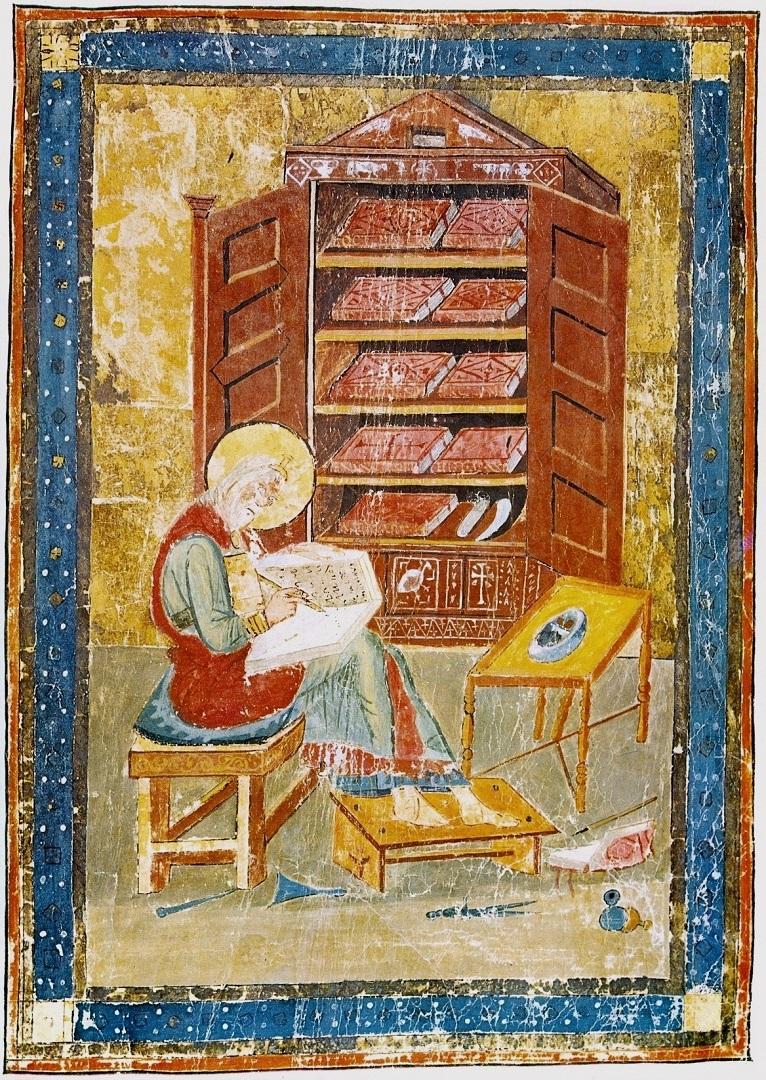 Ездра в образе монаха-переписчика Библии. VIII в.
