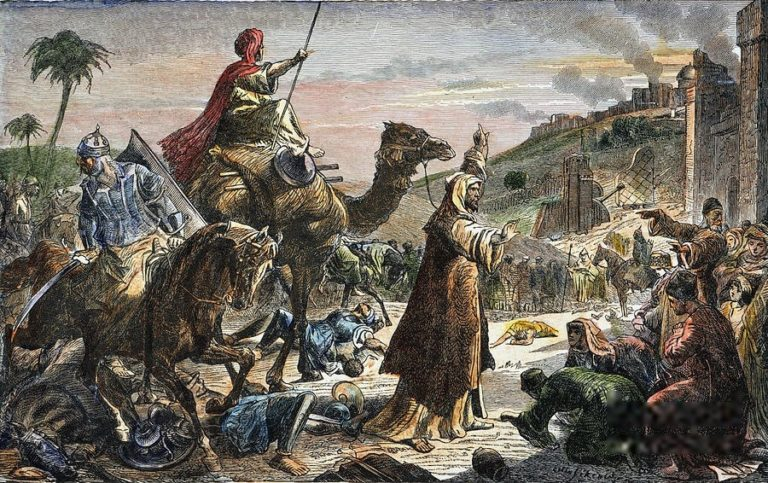 Халиф Умар (Омар) входит в Иерусалим. Гравюра XIX в.