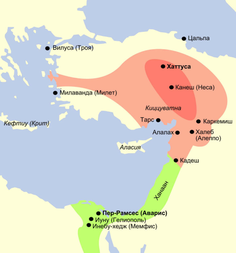 Хеттское царство (выделено красным) в период противостояния с Египтом (зелёный). Нач. XIII в. до н. э.