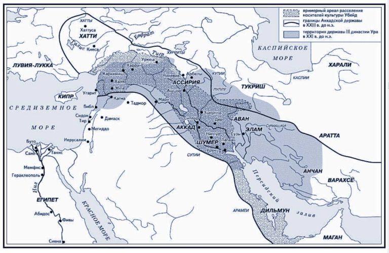 Карта Аккадской империи Саргона Древнего и державы III династии Ура