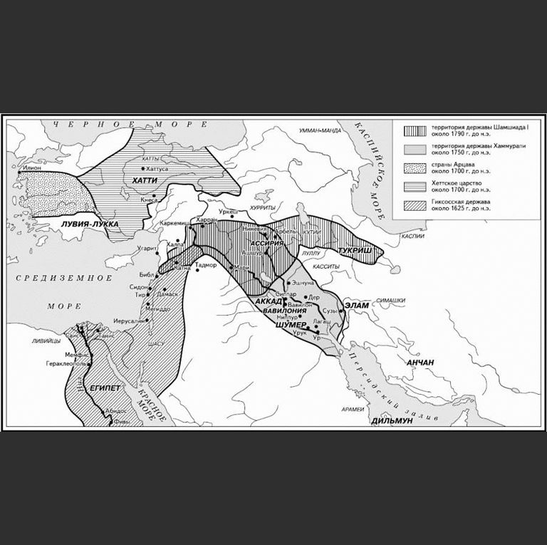 Карта Ближнего Востока во II тыс. до н.э.