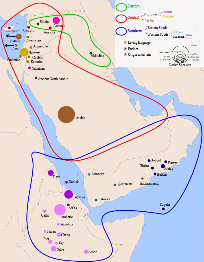 Карта распространения семитских языков