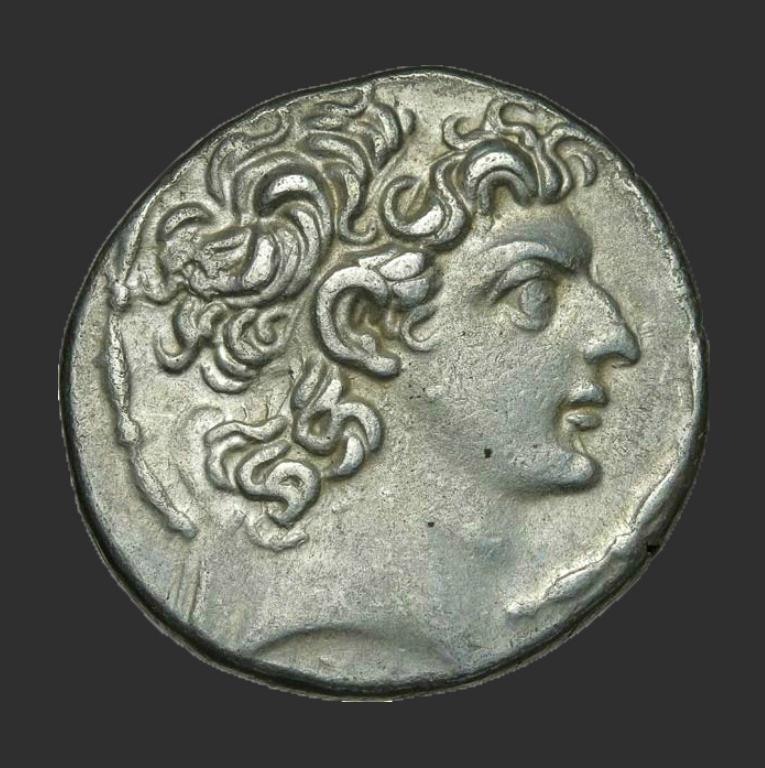 Монета с изображением Антиоха XIII, одного из последних правителей государства Селевкидов