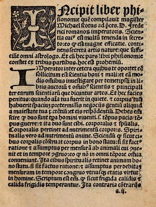 Первая страница ренессансного издания Liber Physiognomiae Михаила Скота. 1505