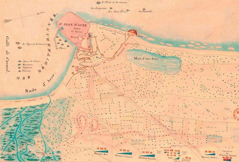 План Акры и прилегающей территории с расположением французских войск. 1799