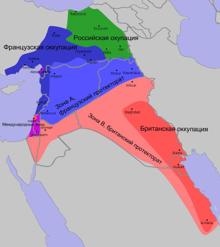 План раздела владений и сфер влияния по соглашению Сайкса-Пико 1916 г.