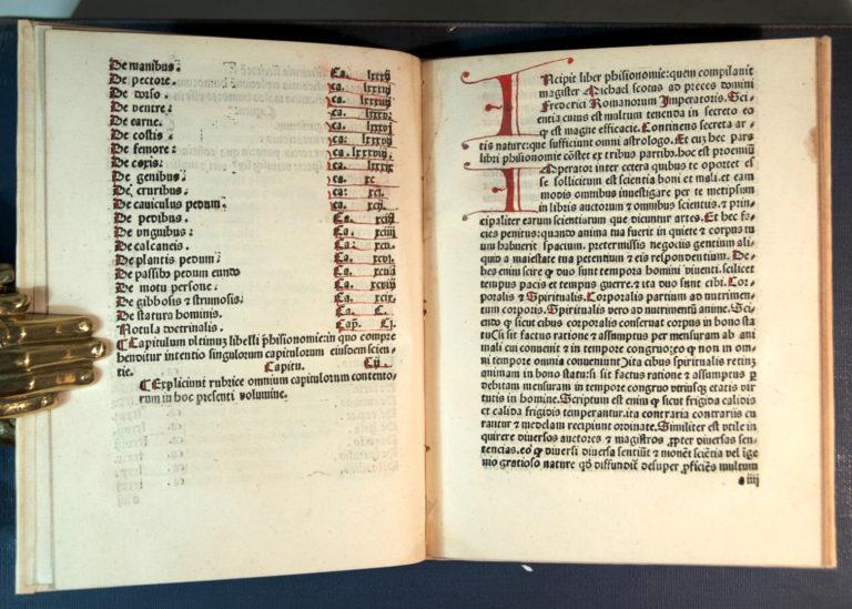 Раннепечатное издание Liber Physiognomiae Михаила Скота. Пассау, 1487