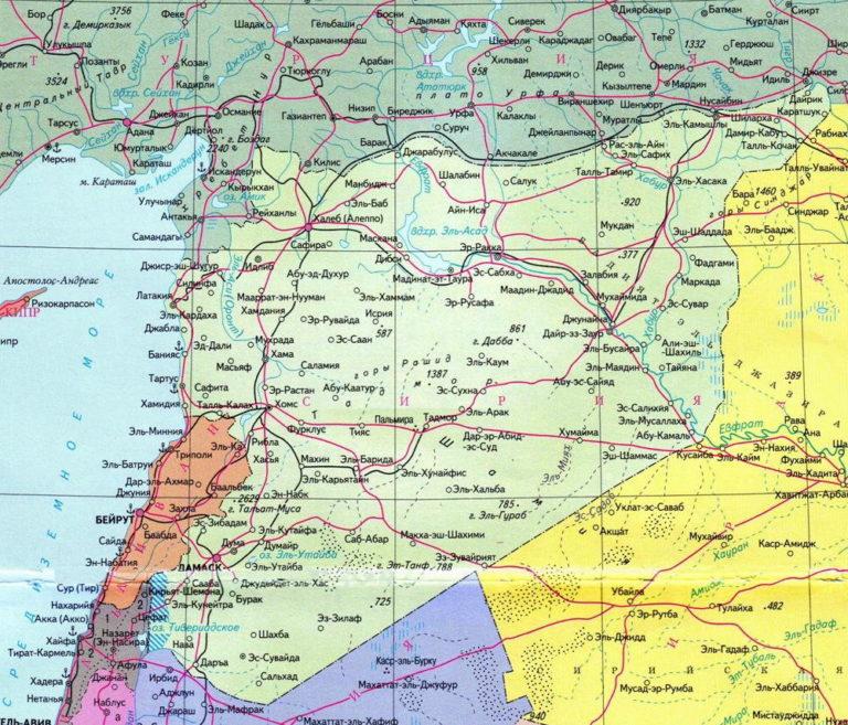 Современная карта Сирии