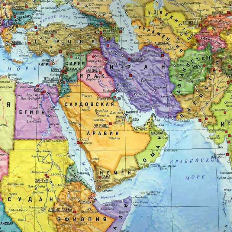 Современная политическая карта Среднего Востока