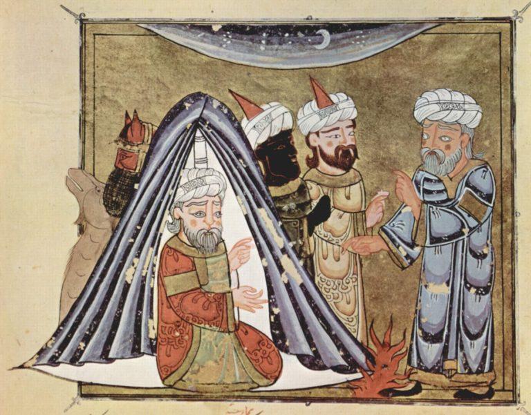 Царь Аль-Харис ибн Джабала из династии Гассанидов в своей палатке. 1335