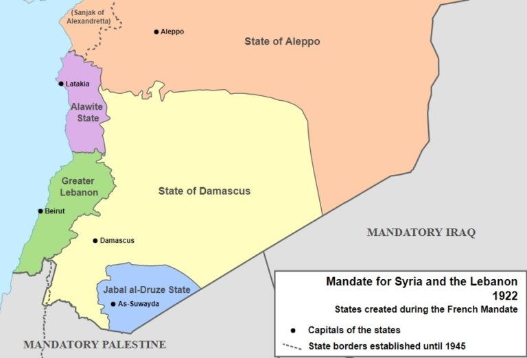 Территория французского мандата в Сирии и Ливане (с делением на области)