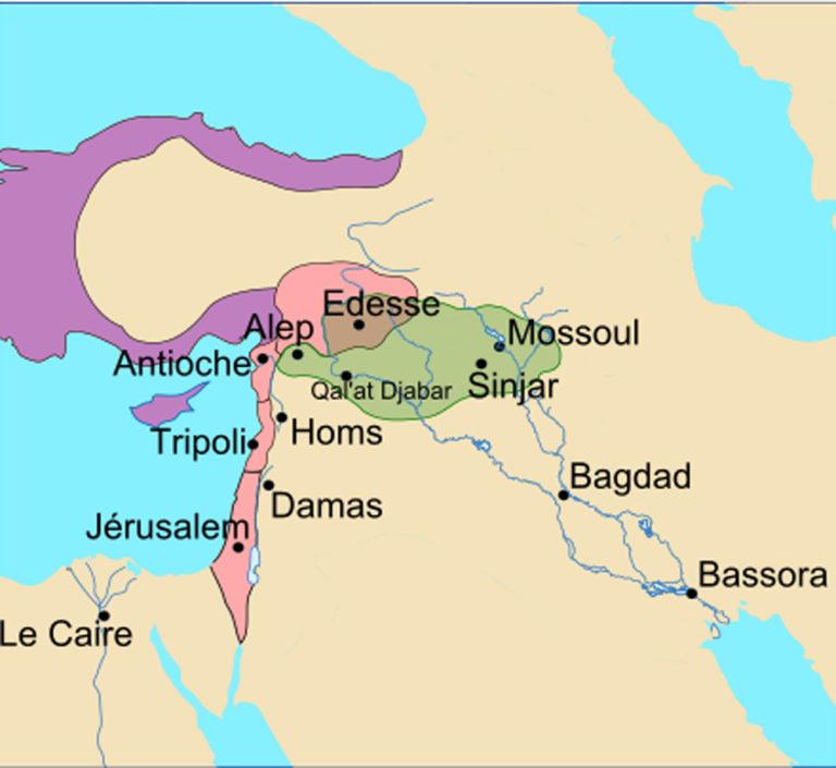 Территория государств крестоносцев и владения Зенгидов в 1146 г.