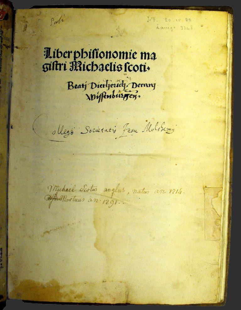 Титульный лист и надписания разных владельцев на раннепечатном издании Liber Physiognomiae. Базель, 1485-86