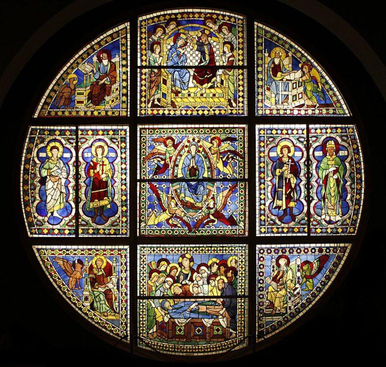 Витраж Сиенского собора, выполненный по рисунку Дуччо ди Буонинсенья. 1288