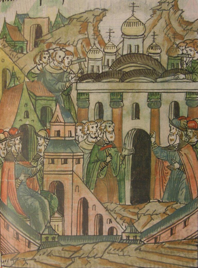 Аристотель Фьораванти руководит строительством Успенского собора. 1568–1576