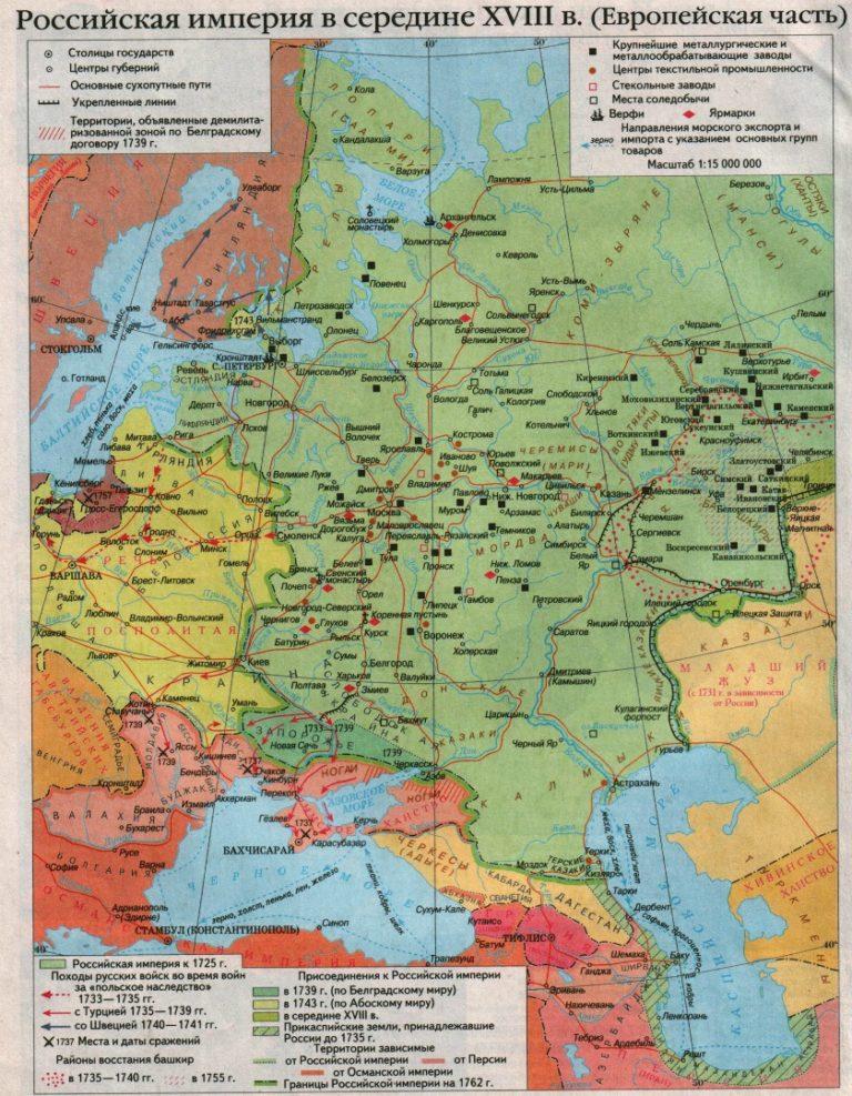 Европейская часть Российской империи в середине XVIII в.