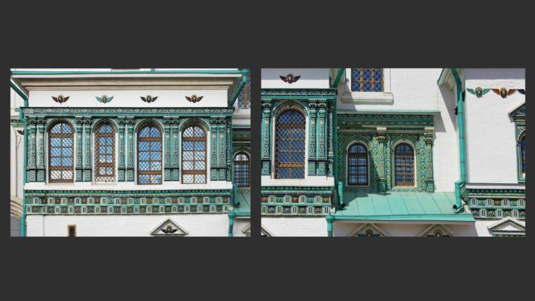Фрагменты изразцового декора на фасадах Воскресенского собора Иерусалимского монастыря