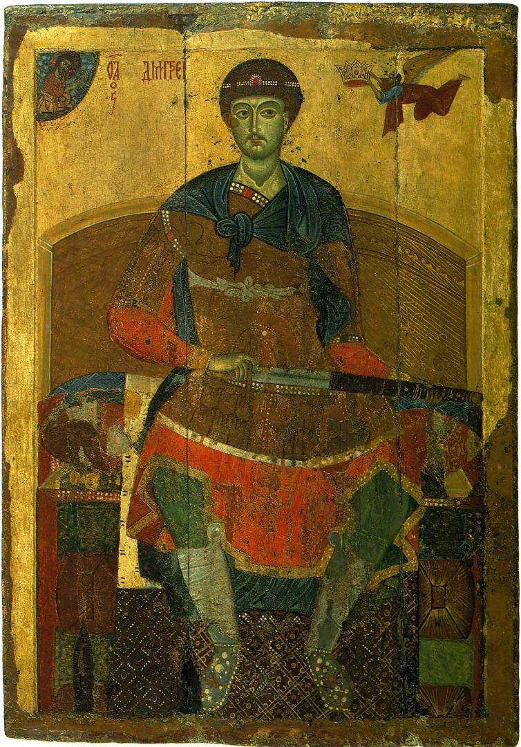 Икона Димитрия Солунского (Фессалоникийского), заказанная князем Всеволодом Большое Гнездо. XII в.