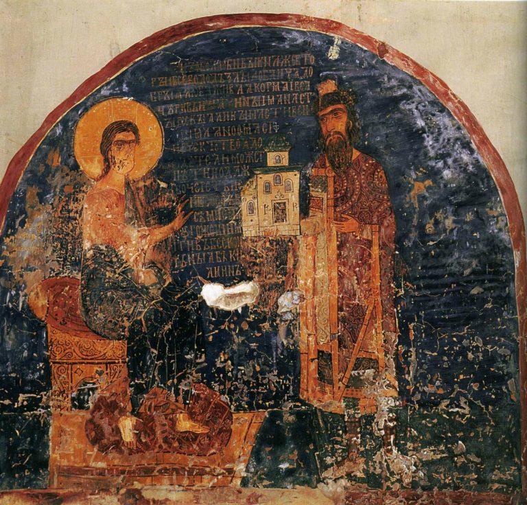 Князь подносит Христу модель храма. 1930
