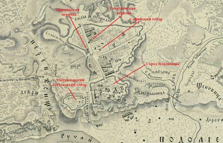 План Киева в XI веке