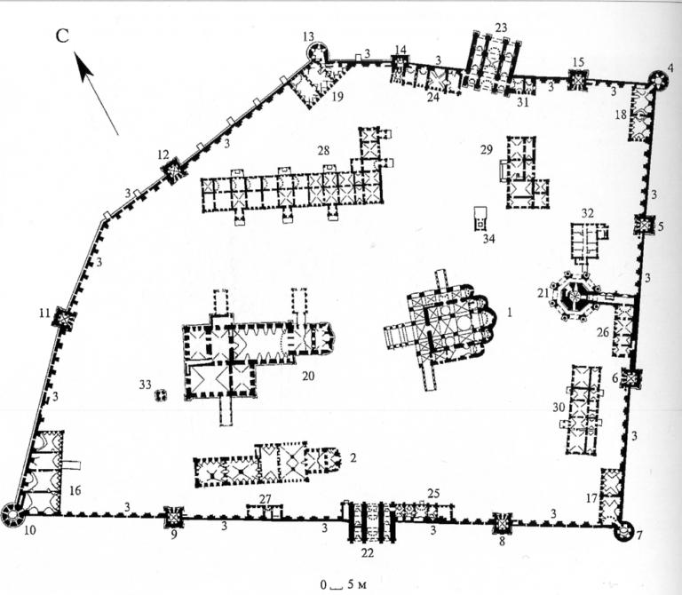 План Новодевичьего Богородице-Смоленского монастыря в Москве