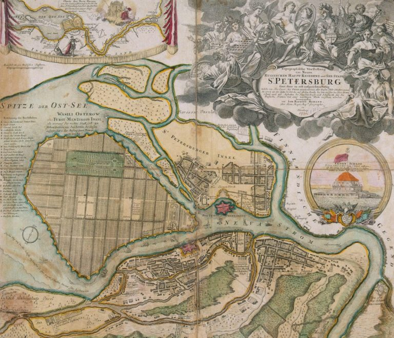 План Санкт-Петербурга, составленный Иоганном Гоманном (нем. Johann Baptist Homann, 1664–1724). 1720-е