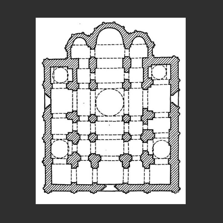План Успенского собора во Владимире. 1186–1189