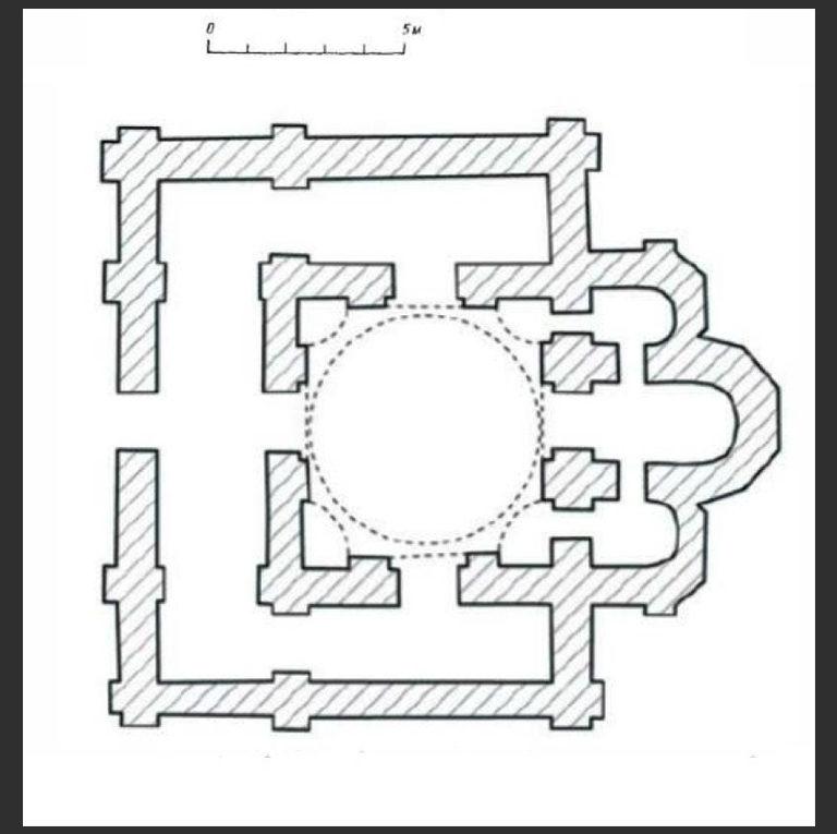 План храма св. Андрея «у ворот» в Переяславле по Д. Д. Елшину