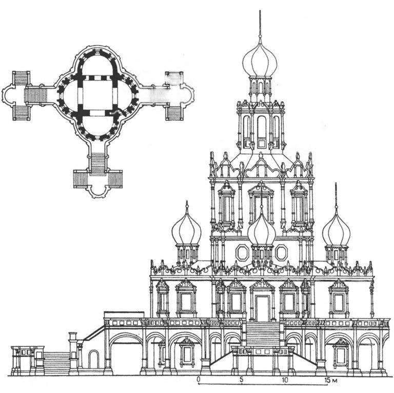 План и фасад церкви Покрова в Филях в Москве. 1690–1693