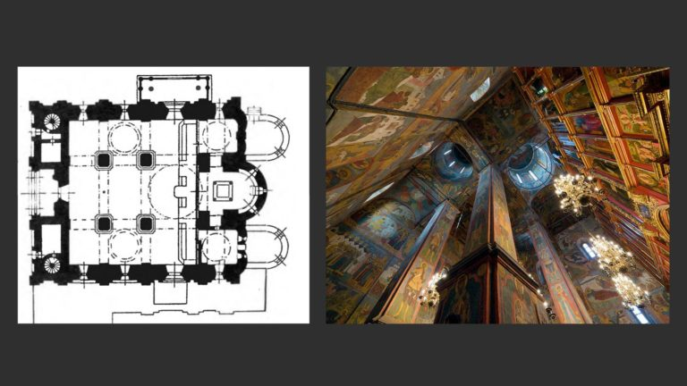 План и интерьер Архангельского собора