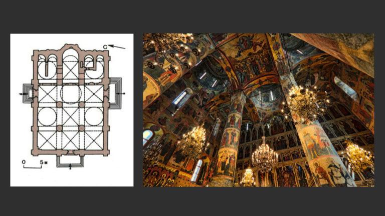 План и интерьер Успенского собора Московского Кремля