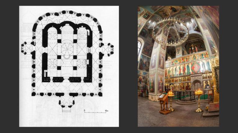 План и интерьер Успенского собора Валдайского Иверского монастыря