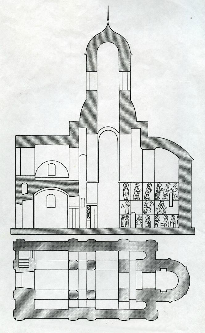 План и разрез Спасо-Преображенского собора Спасо-Евфросиниевского монастыря в Полоцке. 1128–1156