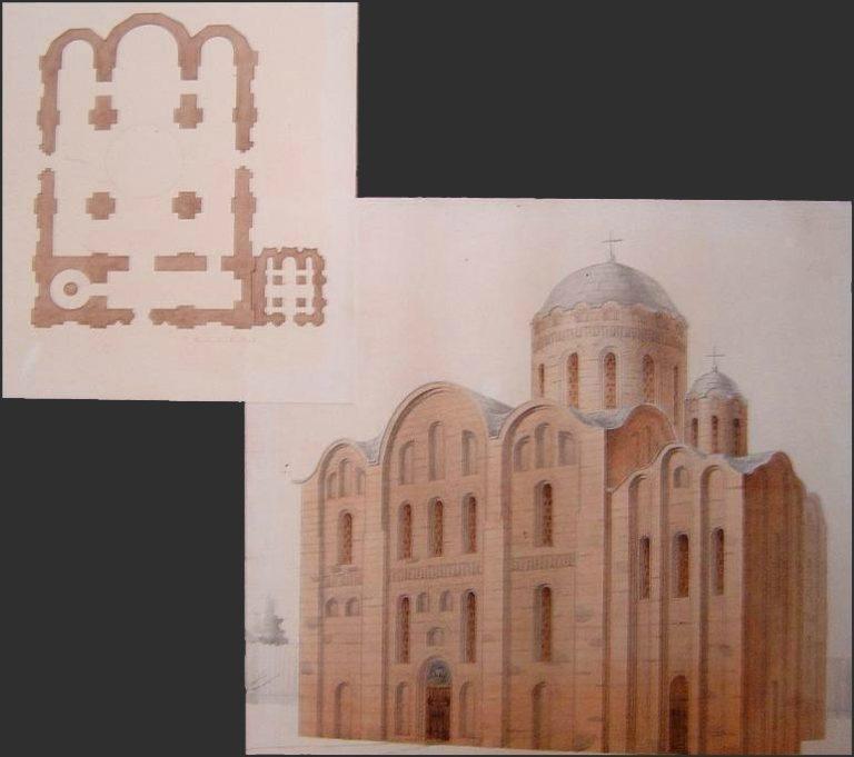 План и реконструкция Михайловского собора Златоверхого монастыря в Киеве. XII в.