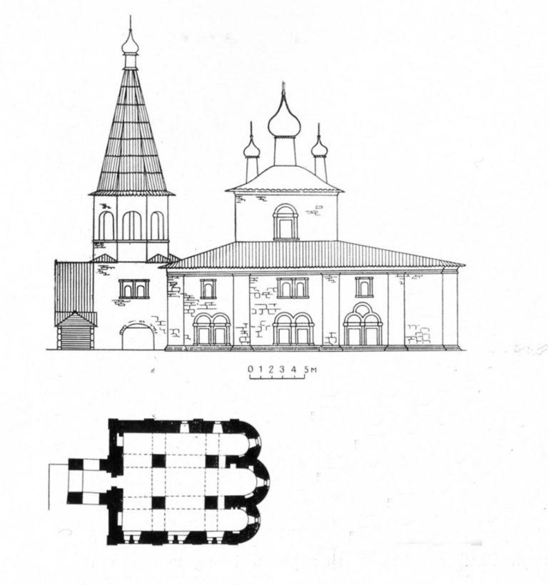 План и реконструкция Успенского собора Александро-Ошевенского монастыря. 1707–1734