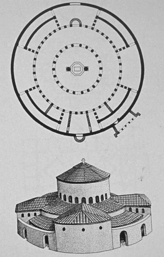План и реконструкция общего вида церкви Санто Стефано Ротондо в Риме