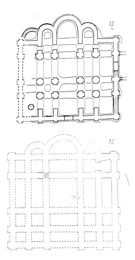 Планы храма на территории митрополичьей усадьбы и храма на Владимирской улице в Киеве
