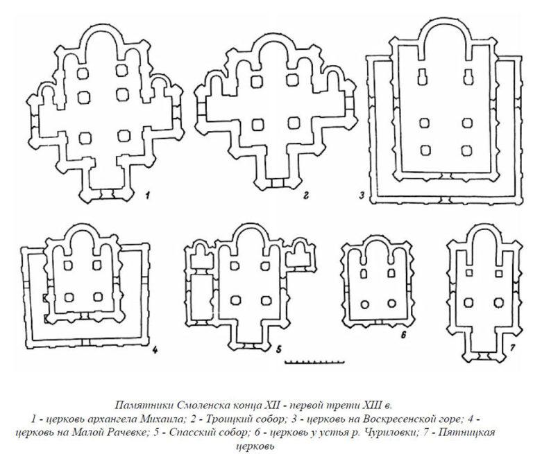 Планы храмов Смоленска. Кон. XII – нач. XIII вв.