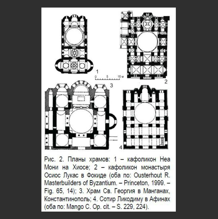 Планы кафоликона Неа-Мони на острове Хиос, кафоликона Осиас Лукас в Фокиде, храма Св. Георгия в Манганах и храма Сотира Ликодиму в Афинах