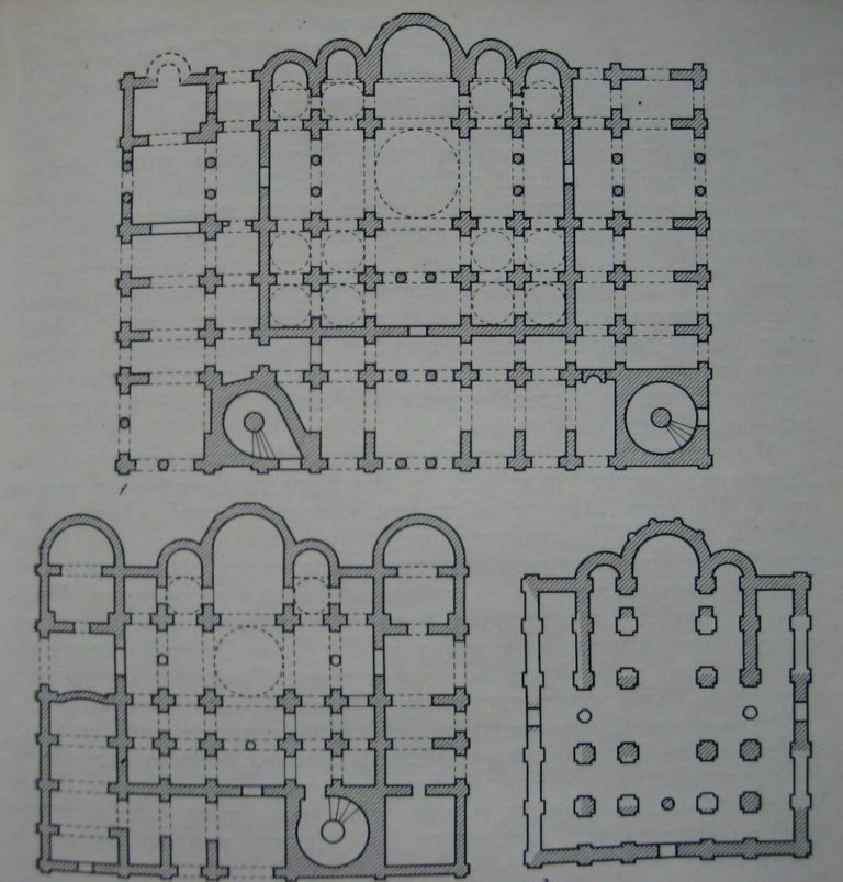 Планы соборов Святой Софии в Киеве (1011–1037), Новгороде (1045–1050) и Полоцке (1040–1060 или 1070–1080)