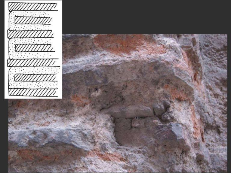 Поперечный разрез стены при кладке со скрытым рядом