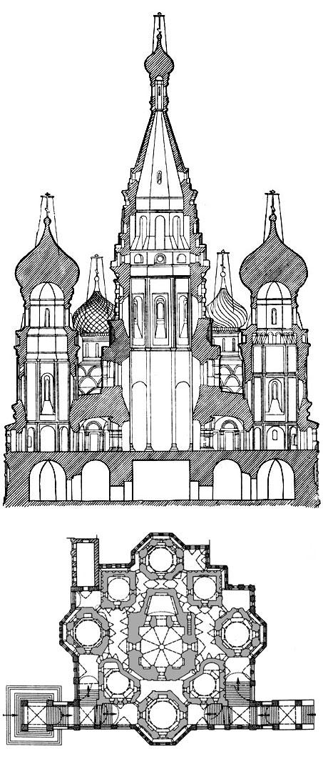 Разрез и план собора Покрова на Рву (Василия Блаженного) в Москве. 1555–1561