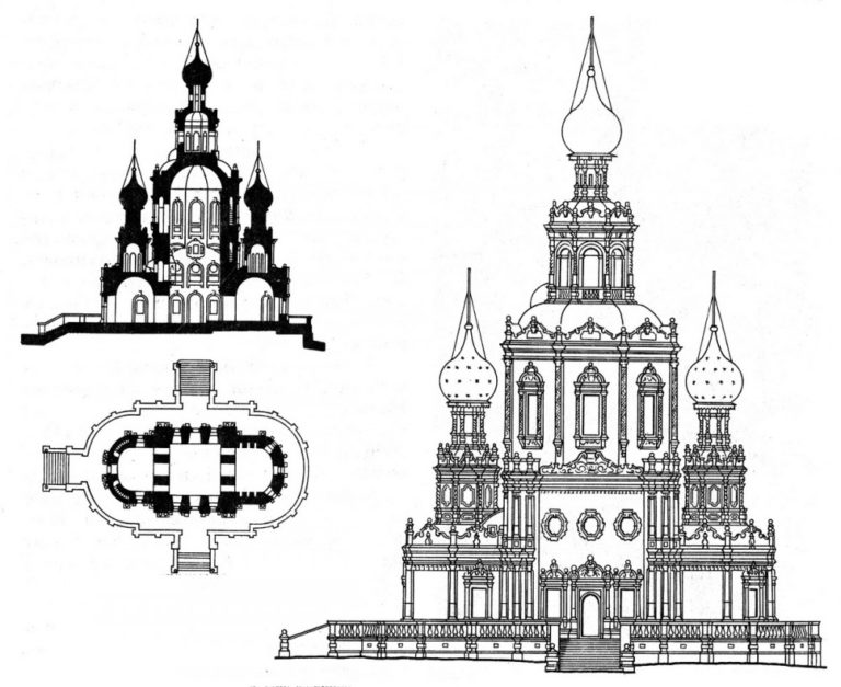 Разрез, план и реконструкция фасада Троицкой церкви в Троице-Лыкове. 1690–1695