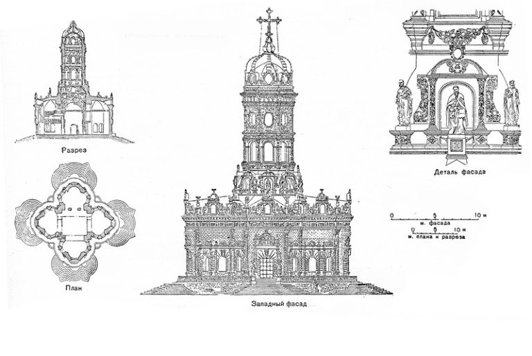 Разрез, план и реконструкция западного фасада церкви Знамения в Дубровицах. 1690–1697