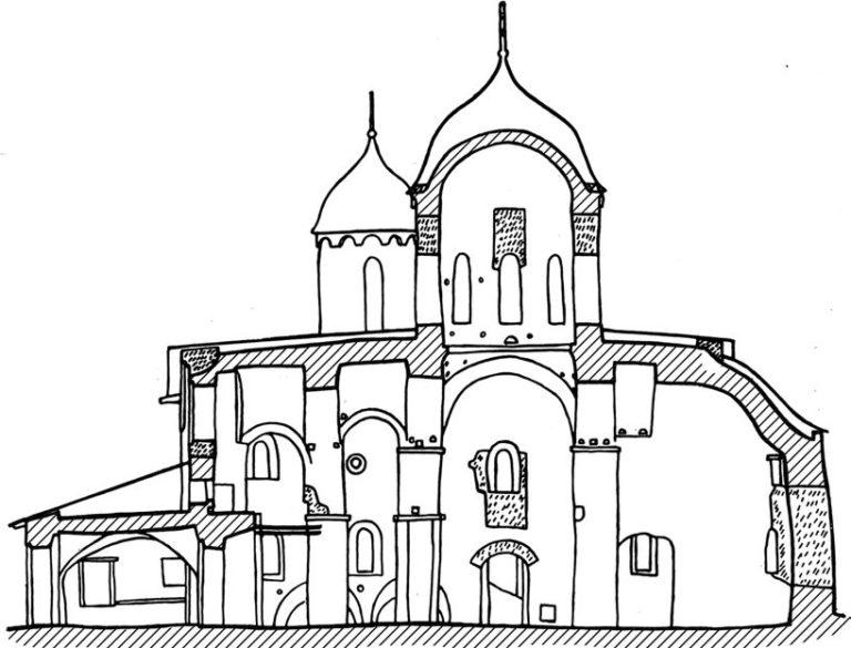 Разрез собора Иоанна Предтечи в Пскове