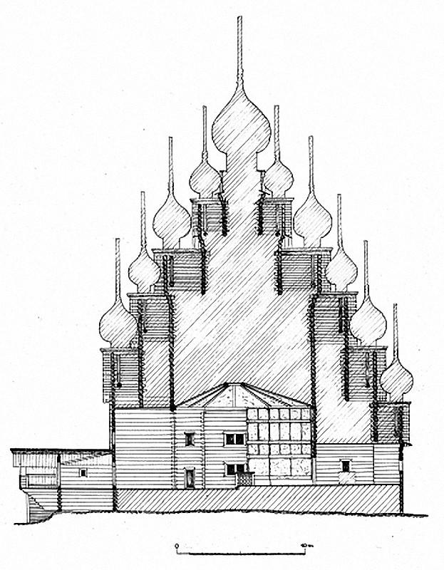 Церковь Преображения Господня в разрезе. 1714